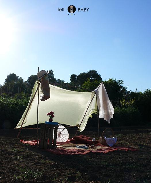 Picnic huerto telas sombra