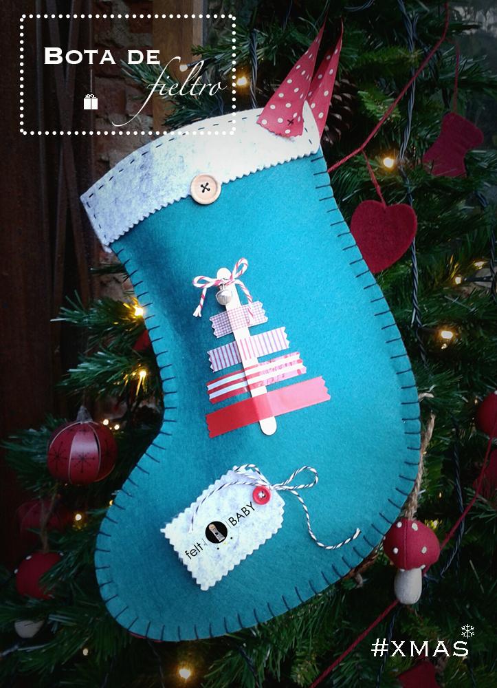 Bota de fieltro navideña fácil