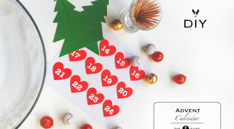 Materiales para el DIY de un calendario de adviento