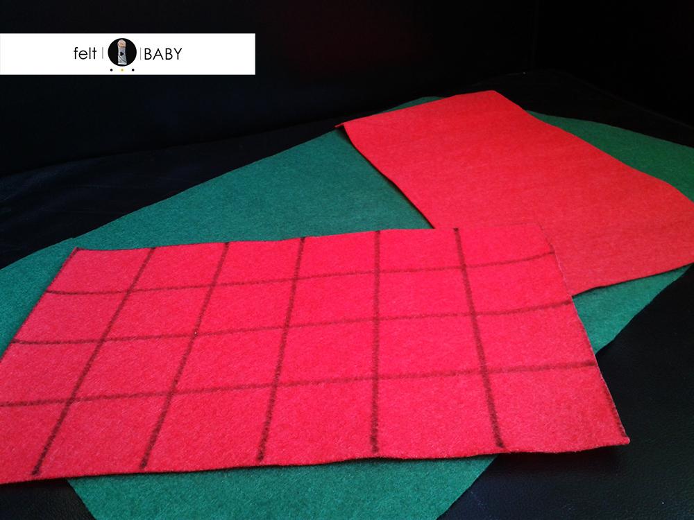 Fieltro verde y rojo para manualidad navideña